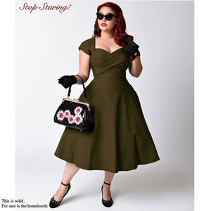 Green Houndstooth - swing dress - Stop Staring!
